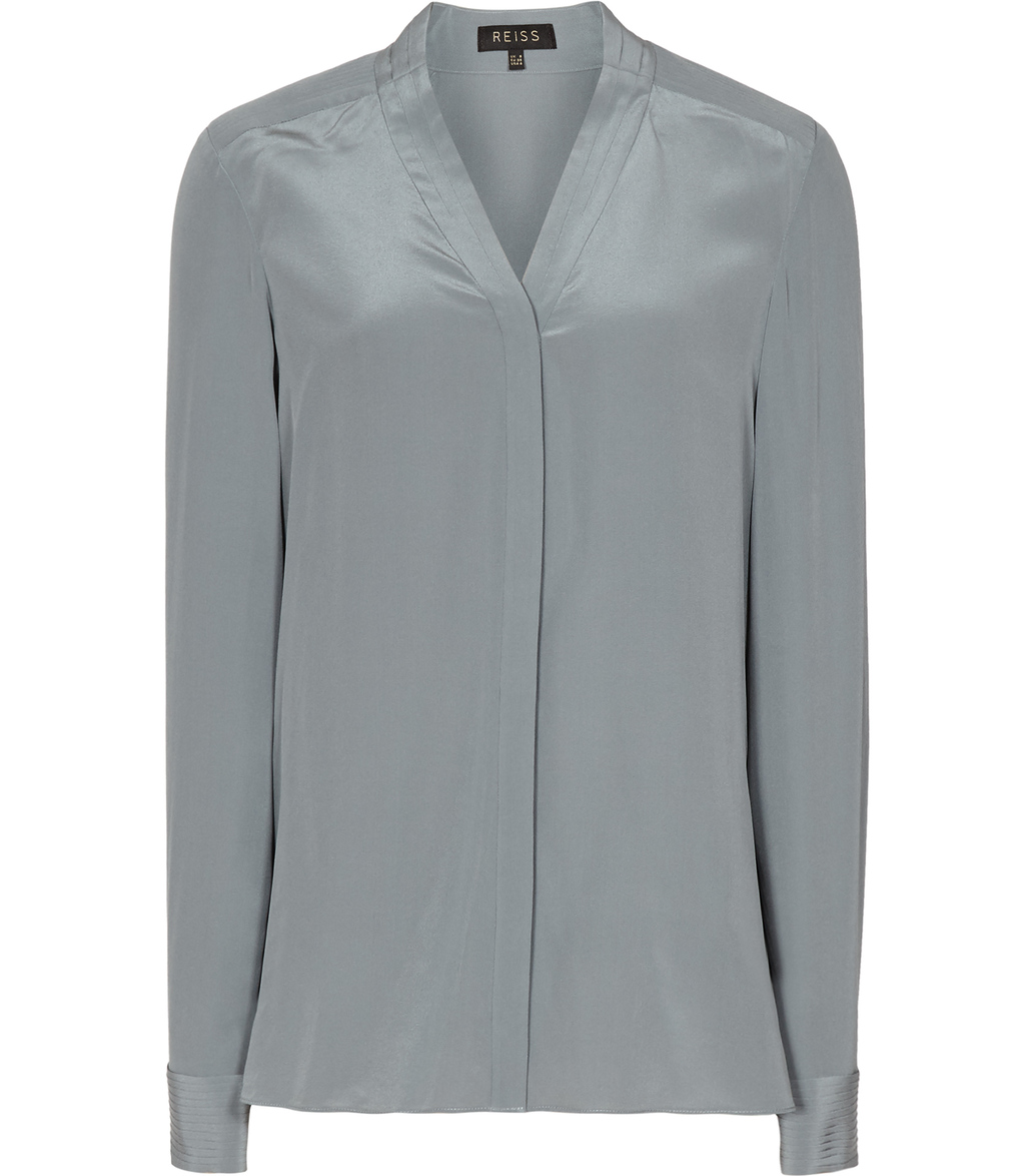 Juliette Womens Pleat Detail Blouse In Green - neckline: v-neck; pattern: plain; length: below the bottom; style: blouse; predominant colour: mid grey; occasions: work, creative work; fibres: silk - 100%; fit: loose; sleeve length: long sleeve; sleeve style: standard; texture group: silky - light; pattern type: fabric; pattern size: standard; season: a/w 2016
