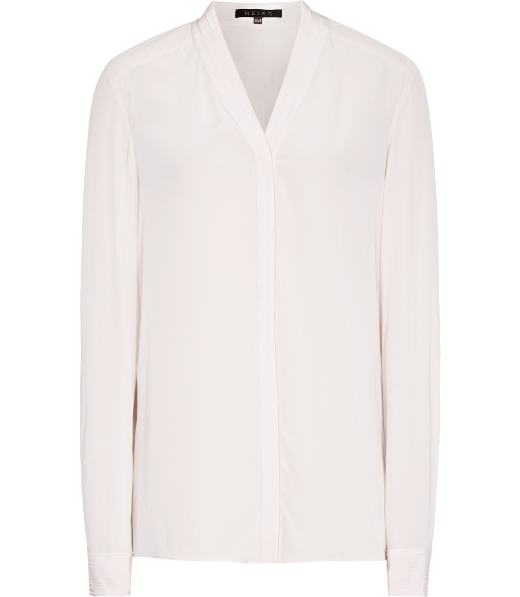 Juliette Womens Pleat Detail Blouse In Cream - neckline: v-neck; pattern: plain; length: below the bottom; style: blouse; predominant colour: ivory/cream; occasions: work, creative work; fibres: silk - 100%; fit: loose; sleeve length: long sleeve; sleeve style: standard; texture group: silky - light; pattern type: fabric; pattern size: standard; wardrobe: basic; season: a/w 2016