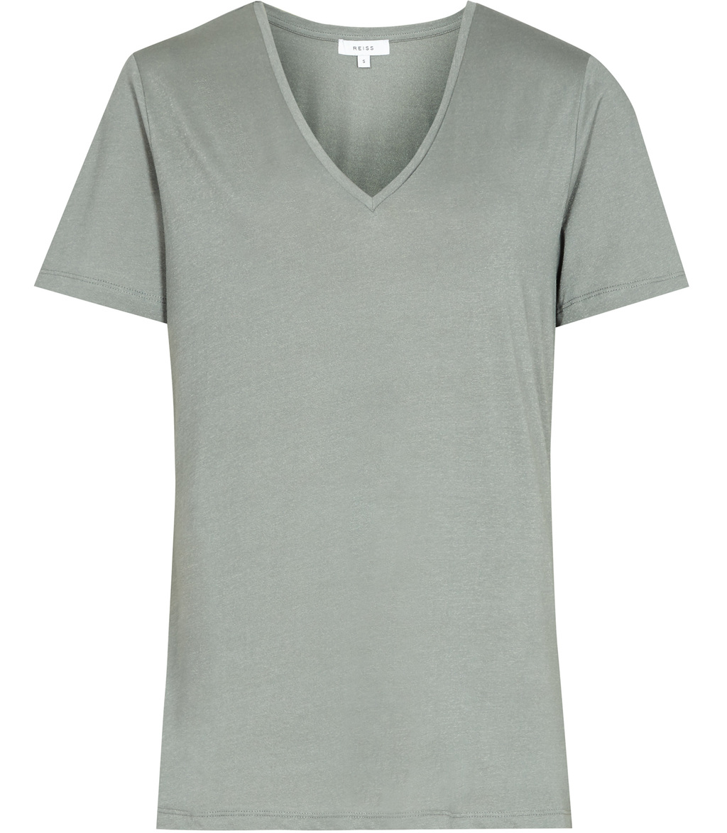 Lacey Womens Metallic Sheen T Shirt In Green - neckline: v-neck; pattern: plain; style: t-shirt; predominant colour: light grey; occasions: casual; length: standard; fibres: cotton - mix; fit: body skimming; sleeve length: short sleeve; sleeve style: standard; pattern type: fabric; texture group: jersey - stretchy/drapey; wardrobe: basic; season: a/w 2016