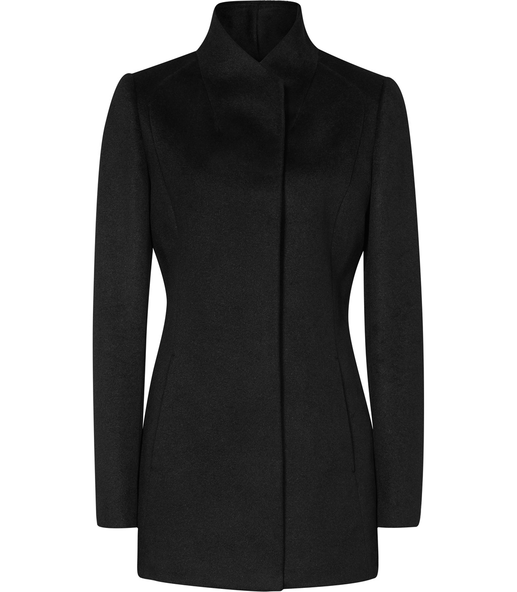 Napoli Womens High Collar Wool Coat In Black - pattern: plain; length: standard; collar: funnel; style: single breasted; predominant colour: black; occasions: work; fit: straight cut (boxy); fibres: wool - 100%; sleeve length: long sleeve; sleeve style: standard; collar break: high; pattern type: fabric; texture group: woven bulky/heavy; wardrobe: investment; season: a/w 2016