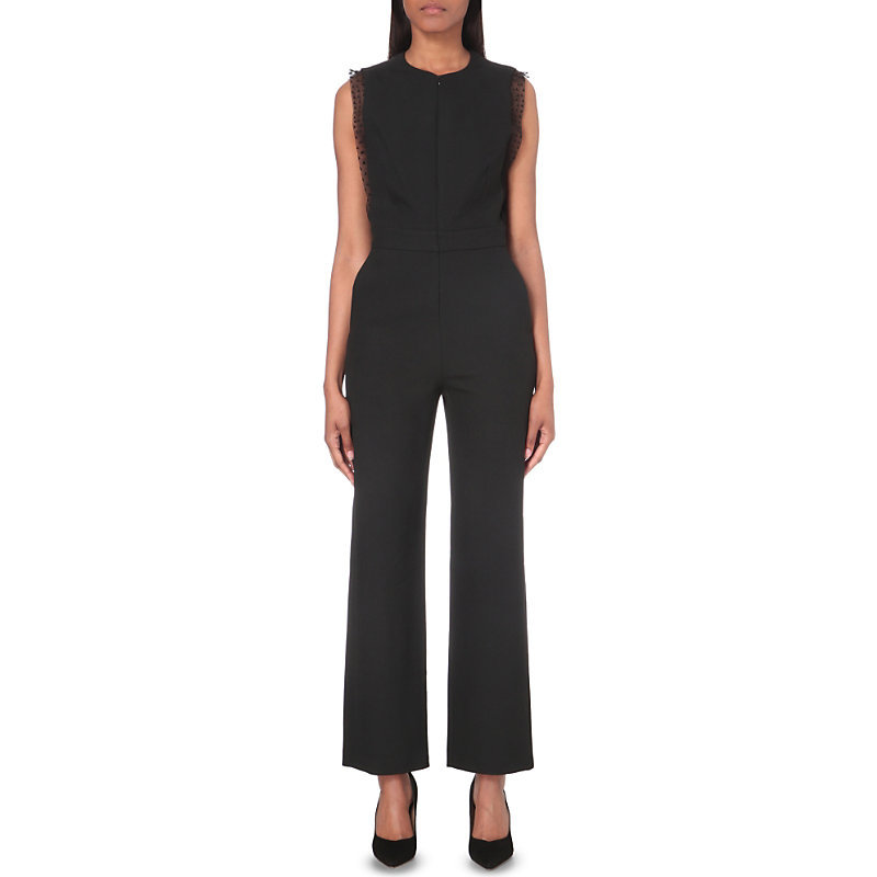 Passion Crepe Jumpsuit, Women's, Black - length: standard; pattern: plain; sleeve style: sleeveless; predominant colour: black; occasions: evening; fit: body skimming; fibres: polyester/polyamide - stretch; neckline: crew; sleeve length: sleeveless; texture group: crepes; style: jumpsuit; pattern type: fabric; season: a/w 2016; wardrobe: event