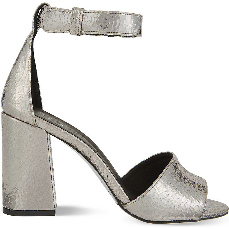 Arius Leather Heeled Sandals, Women's, Eur 38 / 5 Uk Women, Argent - predominant colour: silver; occasions: evening; material: leather; heel height: high; ankle detail: ankle strap; heel: block; toe: open toe/peeptoe; style: standard; finish: metallic; pattern: plain; season: a/w 2016; wardrobe: event