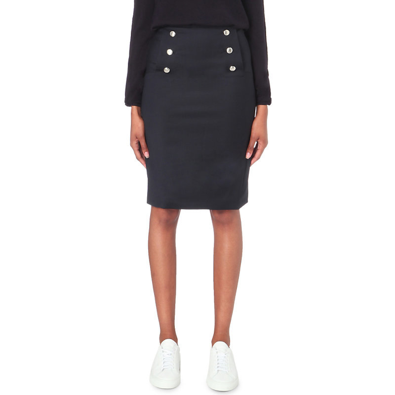 Satellite Crepe Skirt, Women's, Dark Blue/Gold - pattern: plain; style: pencil; fit: tailored/fitted; waist: mid/regular rise; predominant colour: navy; occasions: casual; length: on the knee; fibres: polyester/polyamide - stretch; texture group: crepes; pattern type: fabric; wardrobe: basic; season: a/w 2016
