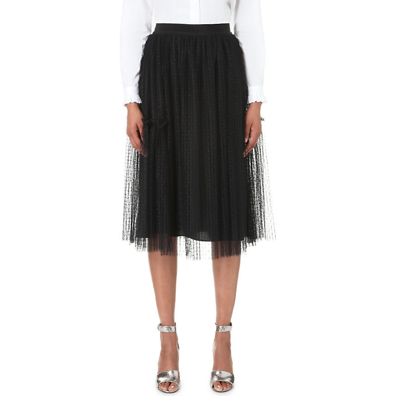 Sonate Lace Skirt, Women's, Noir - length: below the knee; pattern: plain; style: full/prom skirt; fit: loose/voluminous; waist: mid/regular rise; predominant colour: black; occasions: evening; fibres: polyester/polyamide - 100%; pattern type: fabric; texture group: net/tulle; season: a/w 2016; wardrobe: event