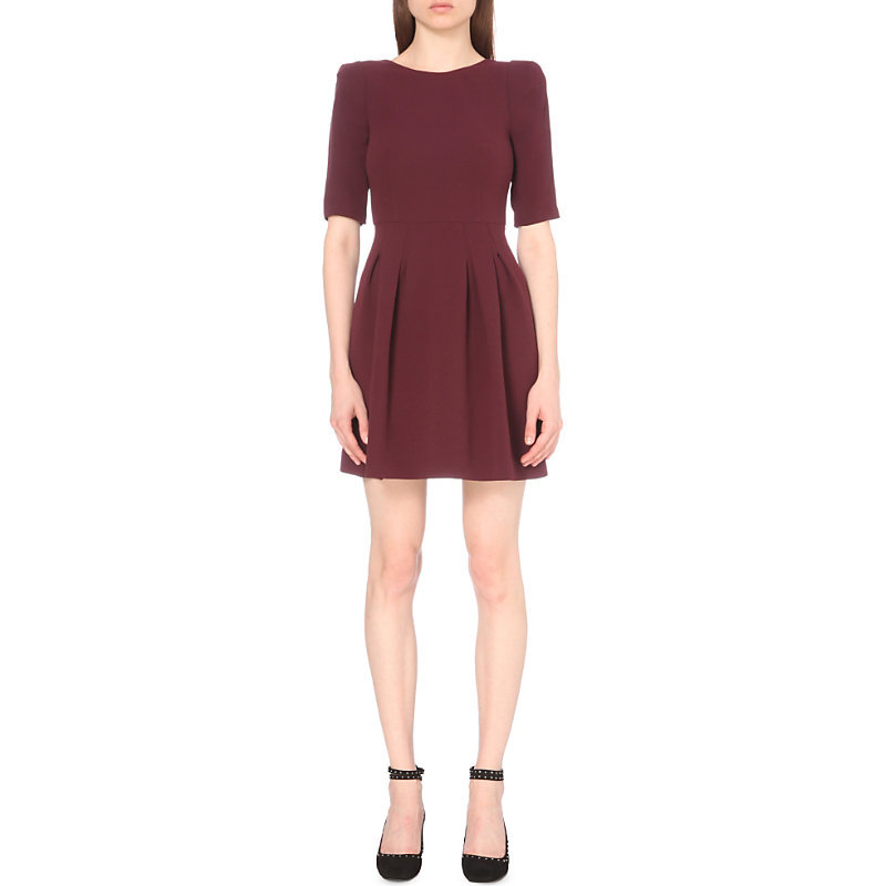 Roller Bis Crepe Dress, Women's, Red - length: mid thigh; pattern: plain; predominant colour: burgundy; occasions: evening; fit: fitted at waist & bust; style: fit & flare; fibres: polyester/polyamide - 100%; neckline: crew; sleeve length: half sleeve; sleeve style: standard; texture group: crepes; pattern type: fabric; season: a/w 2016; wardrobe: event