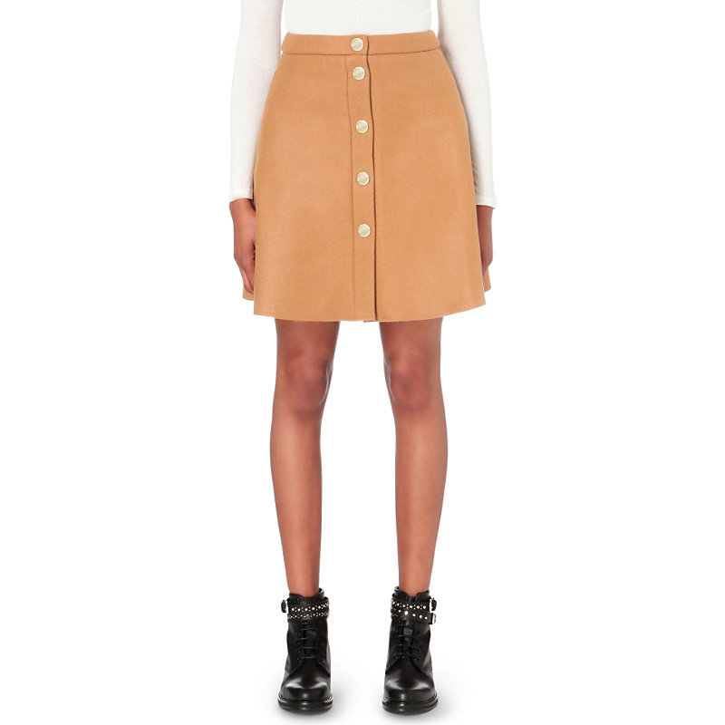 Jamel Wool Blend Skirt, Women's, Camel - length: mid thigh; pattern: plain; fit: tailored/fitted; waist: mid/regular rise; predominant colour: camel; occasions: casual; style: mini skirt; fibres: wool - mix; pattern type: fabric; texture group: woven light midweight; wardrobe: basic; season: a/w 2016