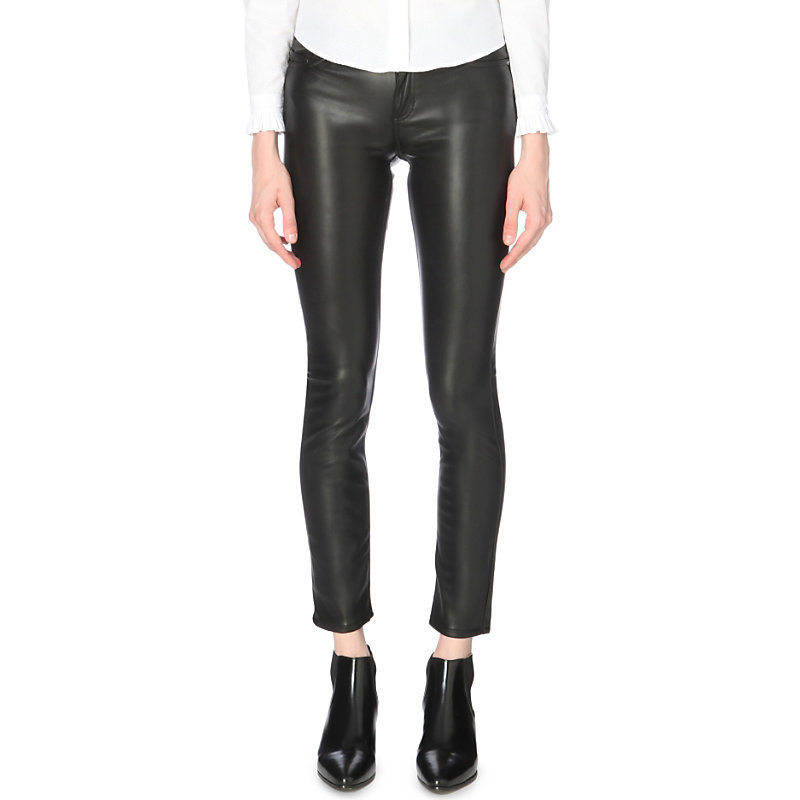 Paname Skinny Mid Rise Jeans, Women's, Noir - style: skinny leg; length: standard; pattern: plain; waist: mid/regular rise; predominant colour: black; occasions: casual, evening, creative work; fibres: polyester/polyamide - mix; texture group: leather; pattern type: fabric; season: a/w 2016; wardrobe: highlight