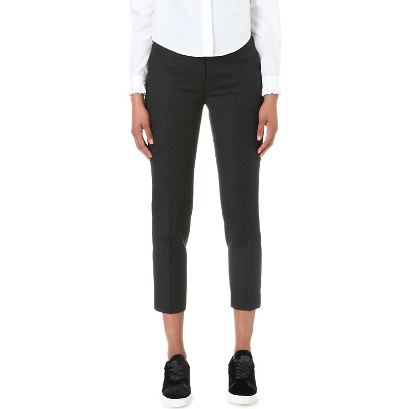 Panda Skinny Mid Rise Woven Trousers, Women's, Noir - pattern: plain; waist: mid/regular rise; predominant colour: black; occasions: casual, creative work; length: calf length; fibres: polyester/polyamide - stretch; fit: slim leg; pattern type: fabric; texture group: woven light midweight; style: standard; pattern size: standard (bottom); wardrobe: basic; season: a/w 2016