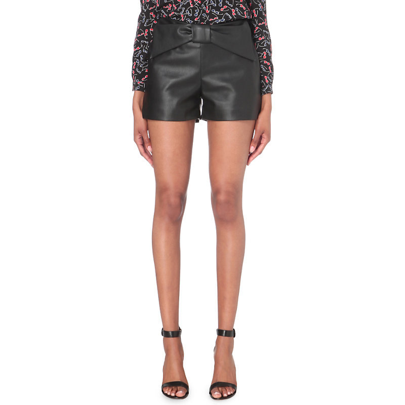 Edmond Faux Leather Shorts, Women's, Noir - pattern: plain; waist: mid/regular rise; predominant colour: black; occasions: evening; fibres: polyester/polyamide - mix; texture group: leather; pattern type: fabric; style: shorts; length: short shorts; fit: slim leg; season: a/w 2016