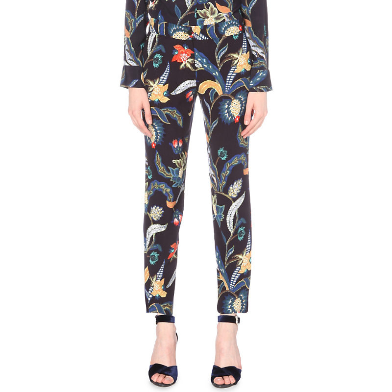 Papaye Baroque Print Crepe Trousers, Women's, White/Midnight Blue - waist: mid/regular rise; secondary colour: navy; predominant colour: black; occasions: evening, creative work; length: ankle length; fibres: polyester/polyamide - 100%; waist detail: narrow waistband; fit: slim leg; pattern type: fabric; pattern: patterned/print; texture group: woven light midweight; style: standard; embellishment: feathers; multicoloured: multicoloured; season: a/w 2016; wardrobe: highlight; trends: opulent prints