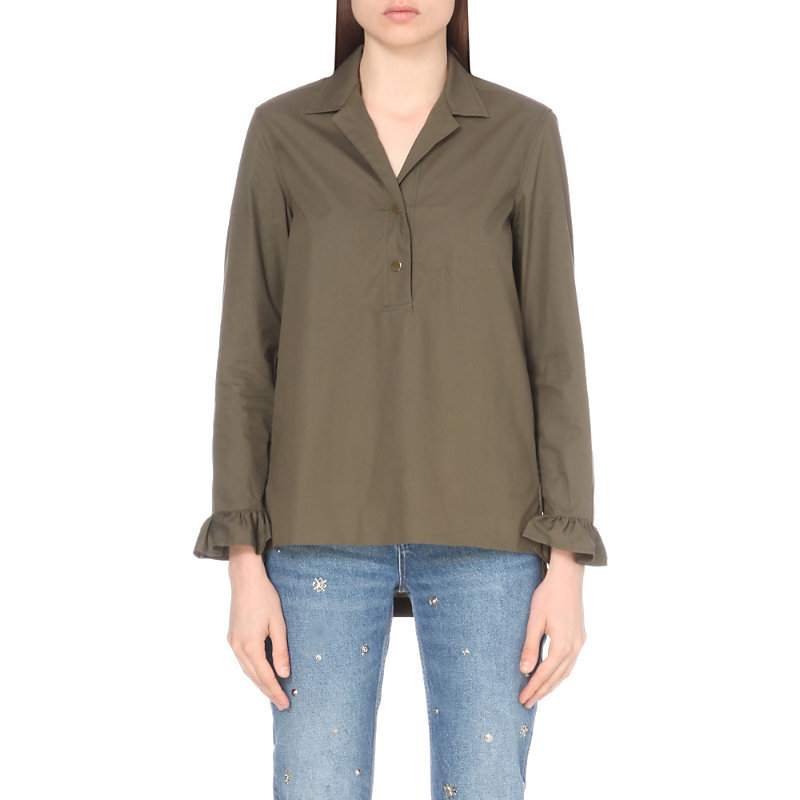 Silent Cotton Top, Women's, Size: Large, Kaki - neckline: v-neck; pattern: plain; length: below the bottom; predominant colour: khaki; occasions: casual, creative work; style: top; fibres: cotton - 100%; fit: loose; sleeve length: long sleeve; sleeve style: standard; texture group: cotton feel fabrics; pattern type: fabric; wardrobe: basic; season: a/w 2016; embellishment location: bust