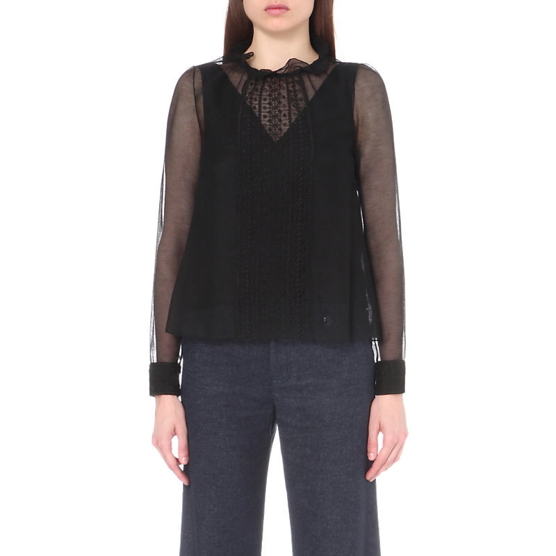 Embroidered Cotton Blend Top, Women's, Black - pattern: plain; neckline: high neck; bust detail: sheer at bust; style: blouse; predominant colour: black; occasions: evening; length: standard; fibres: cotton - mix; fit: body skimming; sleeve length: long sleeve; sleeve style: standard; texture group: sheer fabrics/chiffon/organza etc.; pattern type: fabric; shoulder detail: sheer at shoulder; season: a/w 2016; wardrobe: event
