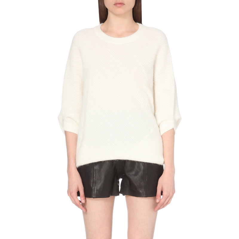 Miska Mid Sleeve Knitted Jumper, Women's, White - pattern: plain; style: standard; predominant colour: white; occasions: casual; length: standard; fibres: nylon - mix; fit: standard fit; neckline: crew; sleeve length: 3/4 length; sleeve style: standard; texture group: knits/crochet; pattern type: fabric; wardrobe: basic; season: a/w 2016