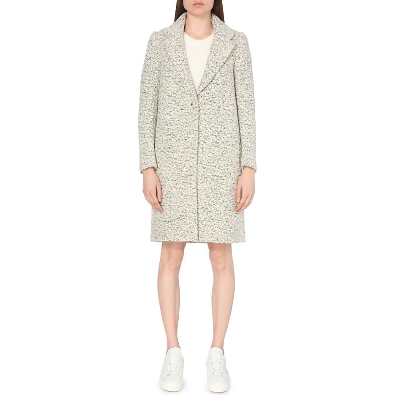 Manteau Wool Blend Coat, Women's, China Grey - pattern: plain; style: single breasted; length: on the knee; collar: standard lapel/rever collar; predominant colour: light grey; occasions: casual, work, creative work; fit: straight cut (boxy); fibres: wool - mix; sleeve length: long sleeve; sleeve style: standard; collar break: medium; pattern type: fabric; texture group: woven bulky/heavy; wardrobe: basic; season: a/w 2016
