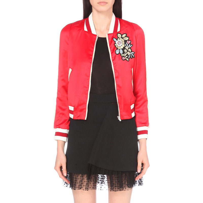 Bob Satin Bomber Jacket, Women's, Red - collar: round collar/collarless; style: bomber; secondary colour: white; predominant colour: true red; occasions: casual, creative work; length: standard; fit: straight cut (boxy); fibres: polyester/polyamide - 100%; sleeve length: long sleeve; sleeve style: standard; texture group: structured shiny - satin/tafetta/silk etc.; collar break: high; pattern type: fabric; pattern: florals; embellishment: embroidered; season: a/w 2016
