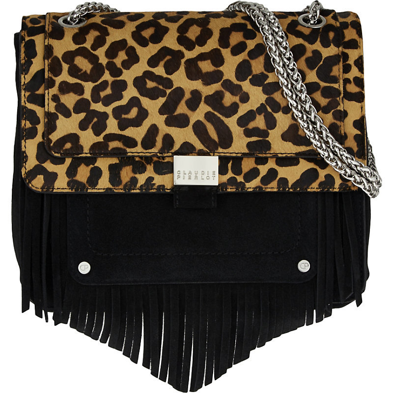 Angela Suede Shoulder Bag, Women's, Noir - secondary colour: tan; predominant colour: black; occasions: casual, creative work; type of pattern: standard; style: shoulder; length: across body/long; size: standard; material: suede; pattern: animal print; finish: plain; embellishment: chain/metal; season: a/w 2016; wardrobe: highlight