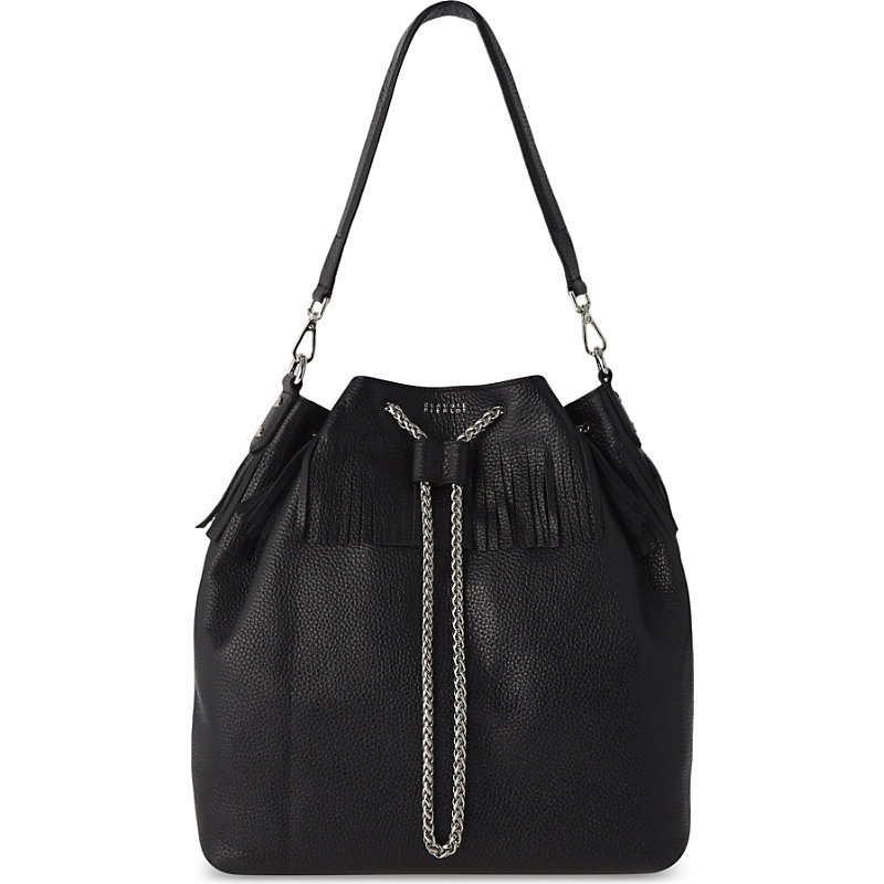 Adelia Leather Bucket Bag, Women's, Noir - secondary colour: silver; predominant colour: black; occasions: casual, creative work; type of pattern: standard; style: onion bag; length: shoulder (tucks under arm); size: standard; material: leather; embellishment: fringing; pattern: plain; finish: plain; season: a/w 2016