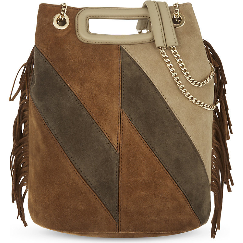 Vendome Suede Bucket Bag, Women's, Camel - predominant colour: tan; secondary colour: stone; occasions: casual, creative work; type of pattern: standard; style: shoulder; length: across body/long; size: standard; material: suede; finish: plain; pattern: colourblock; embellishment: chain/metal; season: a/w 2016; wardrobe: highlight