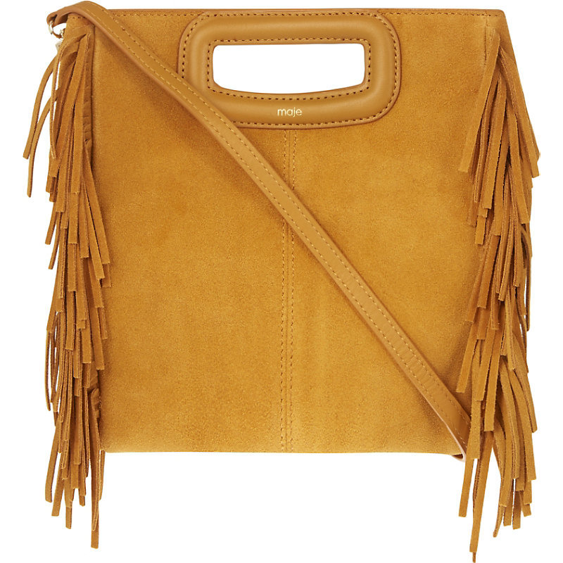 The M Suede Cross Body Bag, Women's, Size: Medium, Moutarde - predominant colour: mustard; occasions: casual, creative work; type of pattern: standard; style: shoulder; length: across body/long; size: standard; material: suede; embellishment: fringing; pattern: plain; finish: plain; season: a/w 2016; wardrobe: highlight