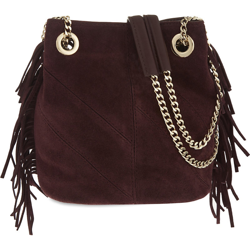 Temple Suede Bucket Bag, Women's, Red - predominant colour: aubergine; secondary colour: silver; occasions: casual, creative work; type of pattern: standard; length: across body/long; size: standard; material: suede; embellishment: fringing; pattern: plain; finish: plain; style: hobo; season: a/w 2016; wardrobe: highlight