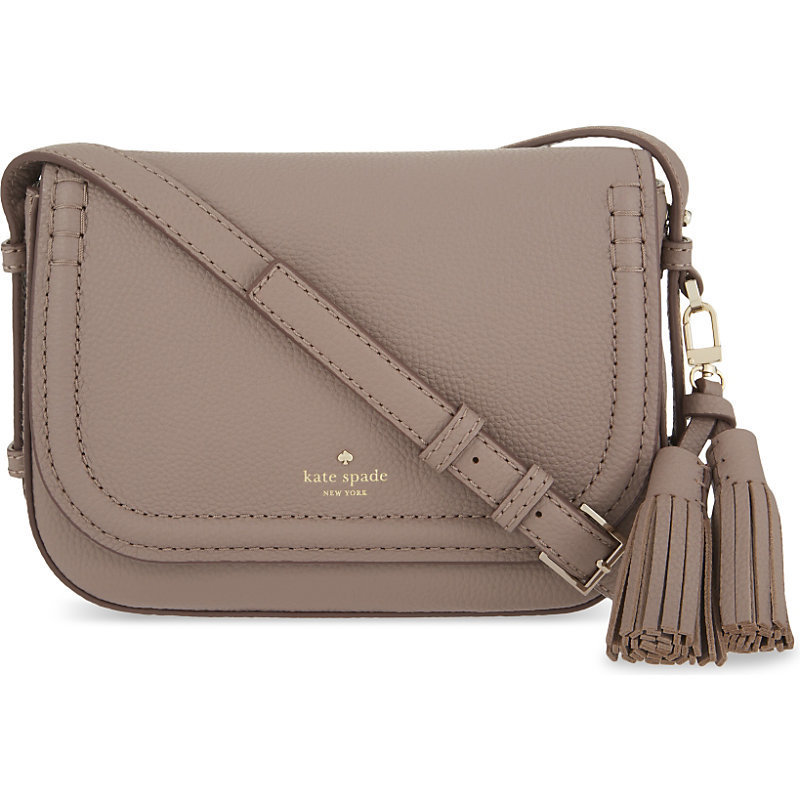 Orchard Street Leather Penelope Satchel, Women's, Porchini - predominant colour: taupe; occasions: casual, creative work; type of pattern: standard; style: satchel; length: across body/long; size: standard; material: leather; embellishment: tassels; pattern: plain; finish: plain; wardrobe: basic; season: a/w 2016