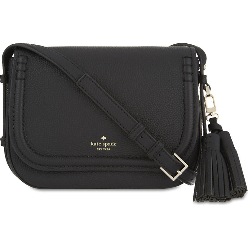 Orchard Street Leather Penelope Satchel, Women's, Black - predominant colour: black; occasions: casual, creative work; type of pattern: standard; style: satchel; length: across body/long; size: standard; material: leather; embellishment: tassels; pattern: plain; finish: plain; wardrobe: basic; season: a/w 2016
