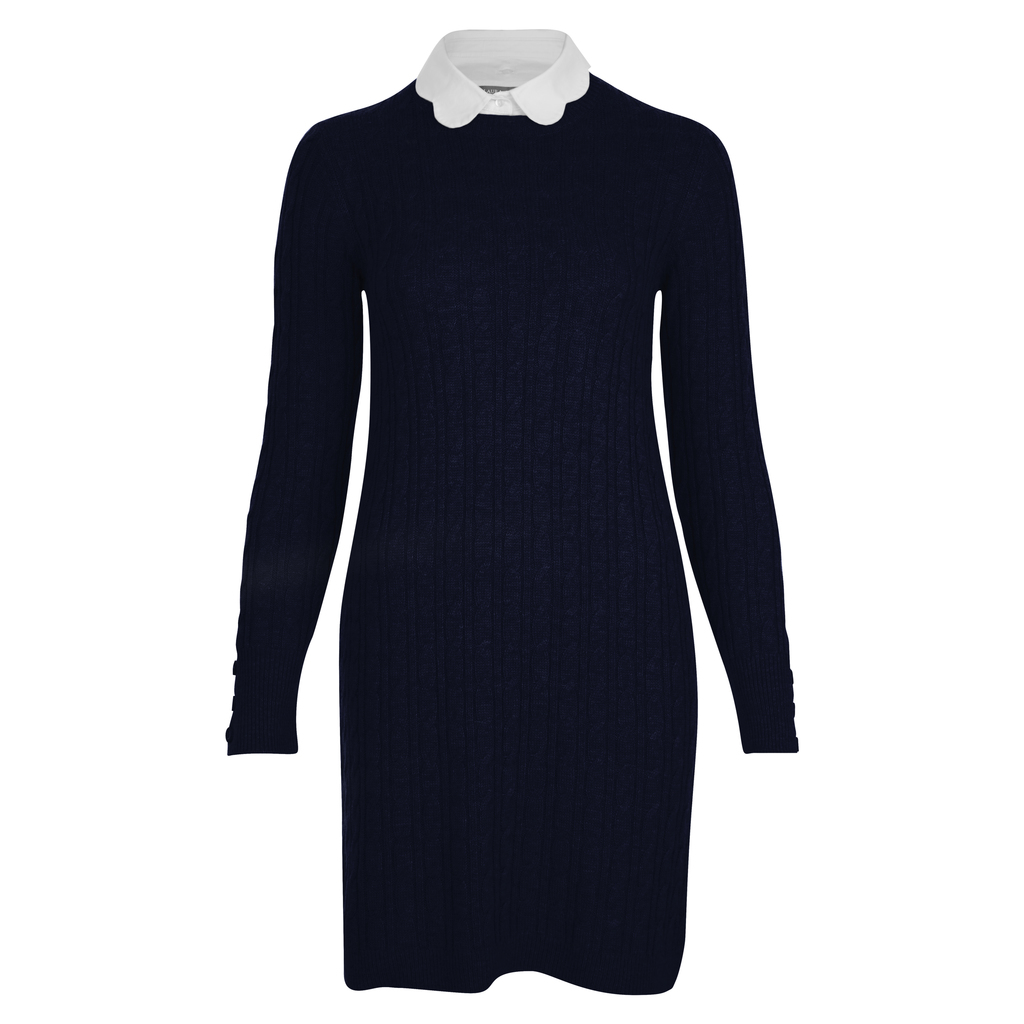 Scallop Collar Cable Knit Tunic Jumper - style: tunic; length: mid thigh; pattern: plain; secondary colour: white; predominant colour: black; occasions: work, creative work; fit: body skimming; fibres: polyester/polyamide - mix; neckline: no opening/shirt collar/peter pan; sleeve length: long sleeve; sleeve style: standard; texture group: knits/crochet; pattern type: knitted - fine stitch; multicoloured: multicoloured; wardrobe: investment; season: a/w 2016