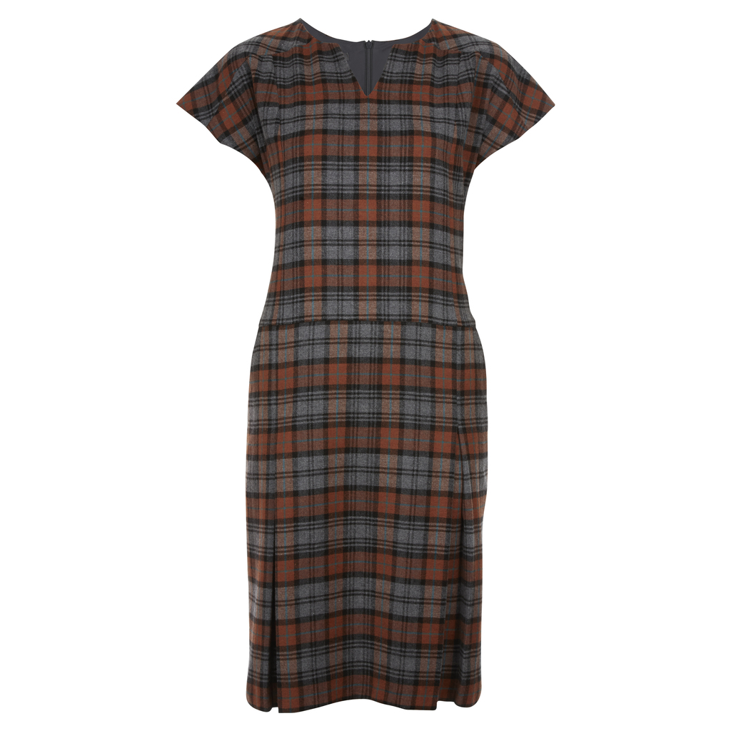Moon British Wool Check Dress - style: shift; neckline: v-neck; fit: tailored/fitted; pattern: checked/gingham; predominant colour: tan; secondary colour: mid grey; occasions: casual, creative work; length: on the knee; fibres: wool - 100%; sleeve length: short sleeve; sleeve style: standard; pattern type: fabric; texture group: woven light midweight; multicoloured: multicoloured; season: a/w 2016; wardrobe: highlight