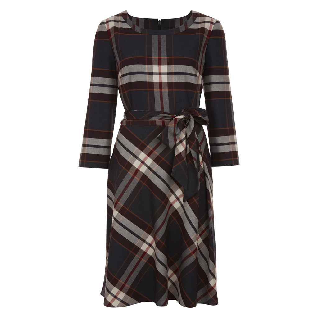 Fit And Flare Check Dress - neckline: round neck; pattern: checked/gingham; waist detail: belted waist/tie at waist/drawstring; secondary colour: white; predominant colour: navy; occasions: casual, creative work; length: on the knee; fit: fitted at waist & bust; style: fit & flare; fibres: polyester/polyamide - stretch; sleeve length: 3/4 length; sleeve style: standard; pattern type: fabric; texture group: other - light to midweight; multicoloured: multicoloured; season: a/w 2016; wardrobe: highlight