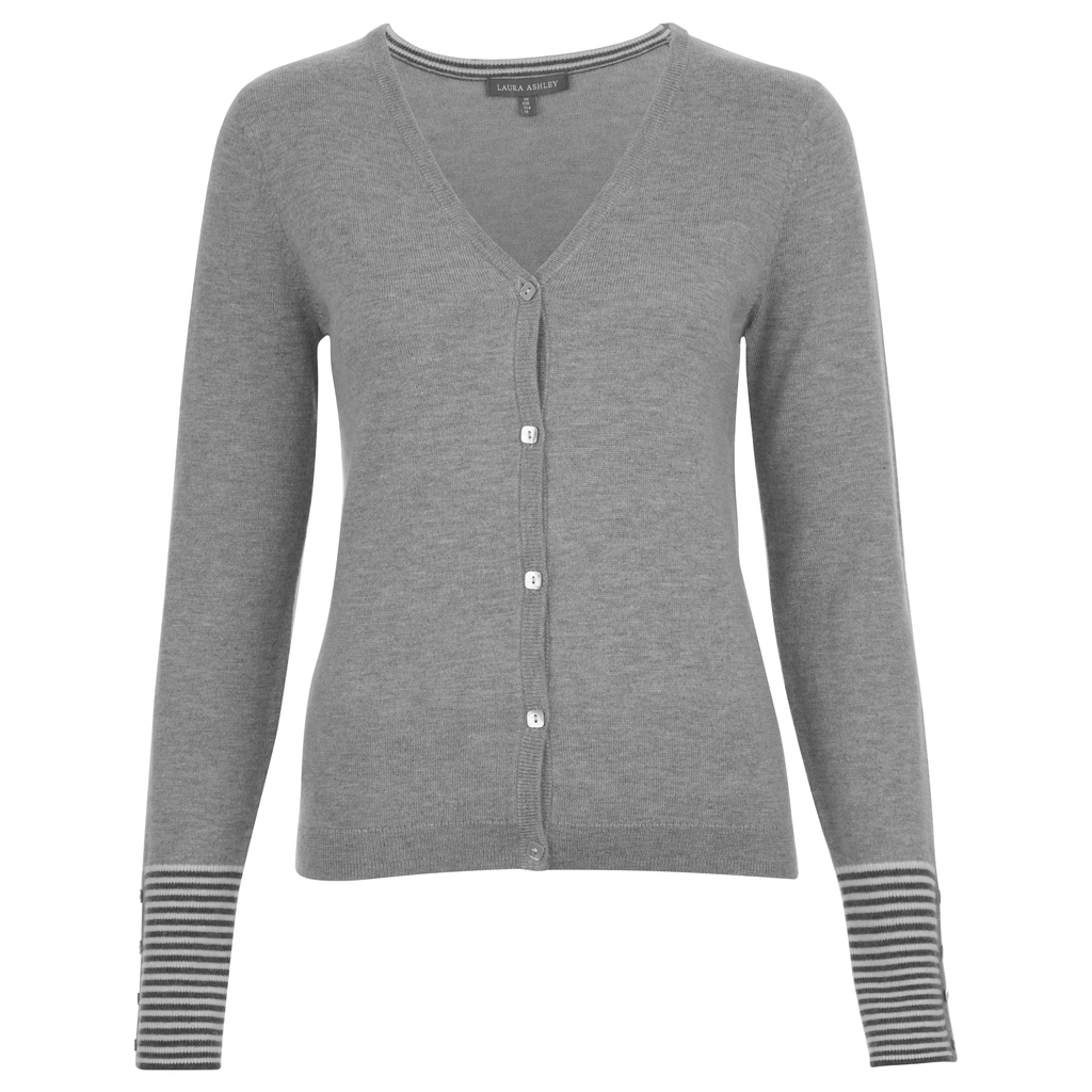 V Neck Contrast Striped Cuff Cardigan - neckline: v-neck; pattern: striped; predominant colour: mid grey; occasions: casual, work, creative work; length: standard; style: standard; fibres: wool - mix; fit: slim fit; sleeve length: long sleeve; sleeve style: standard; texture group: knits/crochet; pattern type: knitted - fine stitch; season: a/w 2016; wardrobe: highlight