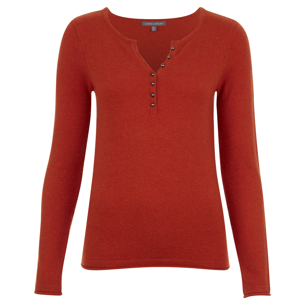 Henley Button Neck Jumper - neckline: v-neck; pattern: plain; style: standard; predominant colour: true red; occasions: casual; length: standard; fibres: wool - mix; fit: slim fit; sleeve length: long sleeve; sleeve style: standard; texture group: knits/crochet; pattern type: knitted - fine stitch; season: a/w 2016; wardrobe: highlight