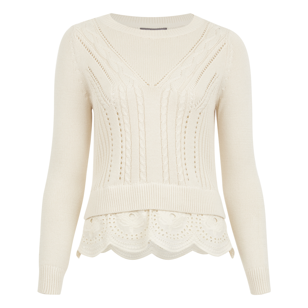Cable Knit Broderie Jumper - pattern: plain; style: standard; predominant colour: blush; occasions: casual; length: standard; fibres: cotton - 100%; fit: standard fit; neckline: crew; sleeve length: long sleeve; sleeve style: standard; pattern type: knitted - fine stitch; texture group: broiderie anglais; season: a/w 2016; wardrobe: highlight