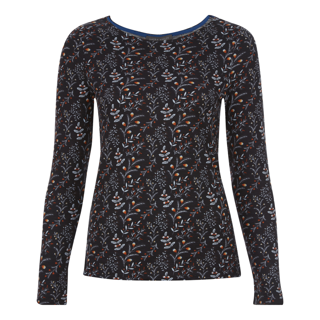 Floral Print Top - secondary colour: ivory/cream; predominant colour: charcoal; occasions: casual; length: standard; style: top; fibres: viscose/rayon - stretch; fit: body skimming; neckline: crew; sleeve length: long sleeve; sleeve style: standard; pattern type: fabric; pattern: florals; texture group: jersey - stretchy/drapey; multicoloured: multicoloured; season: a/w 2016; wardrobe: highlight