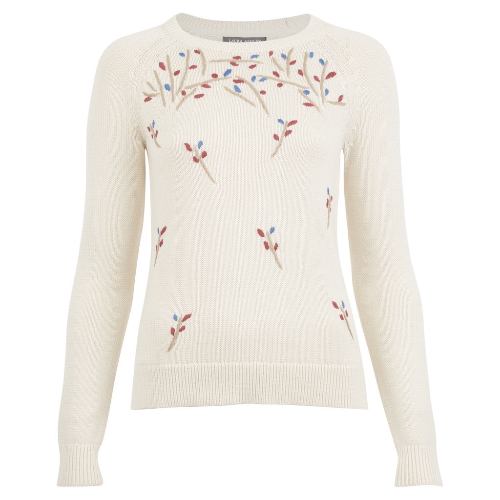Hand Embroidered Floral Crew Neck Jumper - style: standard; predominant colour: ivory/cream; secondary colour: hot pink; occasions: casual; length: standard; fibres: cotton - 100%; fit: slim fit; neckline: crew; sleeve length: long sleeve; sleeve style: standard; texture group: knits/crochet; pattern type: knitted - fine stitch; pattern: florals; multicoloured: multicoloured; season: a/w 2016