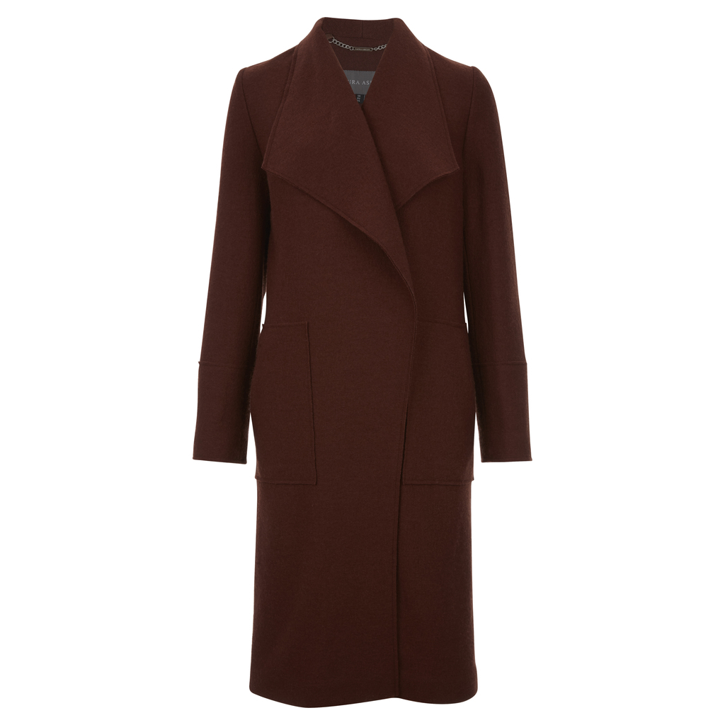 Oversized Drape Front Wool Coat - pattern: plain; collar: shawl/waterfall; length: on the knee; style: wrap around; predominant colour: burgundy; occasions: casual, creative work; fit: tailored/fitted; fibres: wool - mix; sleeve length: long sleeve; sleeve style: standard; collar break: medium; pattern type: fabric; texture group: woven bulky/heavy; season: a/w 2016; wardrobe: highlight