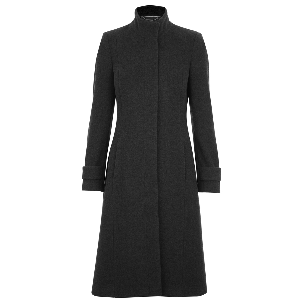 Funnel Neck Straight Wool Coat - pattern: plain; collar: funnel; style: single breasted; length: on the knee; fit: slim fit; predominant colour: charcoal; occasions: work; fibres: wool - mix; sleeve length: long sleeve; sleeve style: standard; collar break: high; pattern type: fabric; texture group: woven bulky/heavy; wardrobe: investment; season: a/w 2016