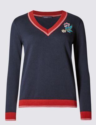 Pure Cotton Jumper - neckline: v-neck; style: standard; secondary colour: true red; predominant colour: navy; occasions: casual, creative work; length: standard; fibres: cotton - 100%; fit: standard fit; sleeve length: long sleeve; sleeve style: standard; texture group: knits/crochet; pattern type: knitted - fine stitch; pattern size: light/subtle; pattern: colourblock; season: a/w 2016; wardrobe: highlight