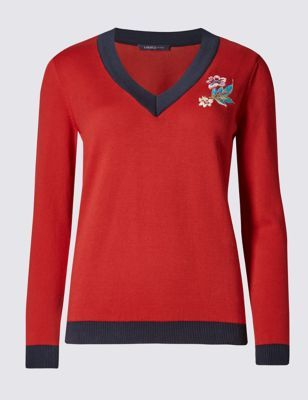 Pure Cotton Jumper - neckline: v-neck; pattern: plain; style: standard; predominant colour: true red; secondary colour: navy; occasions: casual, creative work; length: standard; fibres: cotton - 100%; fit: standard fit; sleeve length: long sleeve; sleeve style: standard; texture group: knits/crochet; pattern type: knitted - fine stitch; embellishment: embroidered; season: a/w 2016