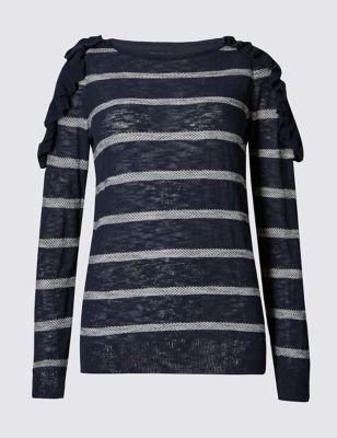 Frill Striped Jumper - neckline: round neck; pattern: horizontal stripes; shoulder detail: tiers/frills/ruffles; style: standard; predominant colour: navy; secondary colour: light grey; occasions: casual; length: standard; fibres: cotton - mix; fit: slim fit; sleeve length: long sleeve; sleeve style: standard; pattern type: fabric; texture group: jersey - stretchy/drapey; multicoloured: multicoloured; season: a/w 2016