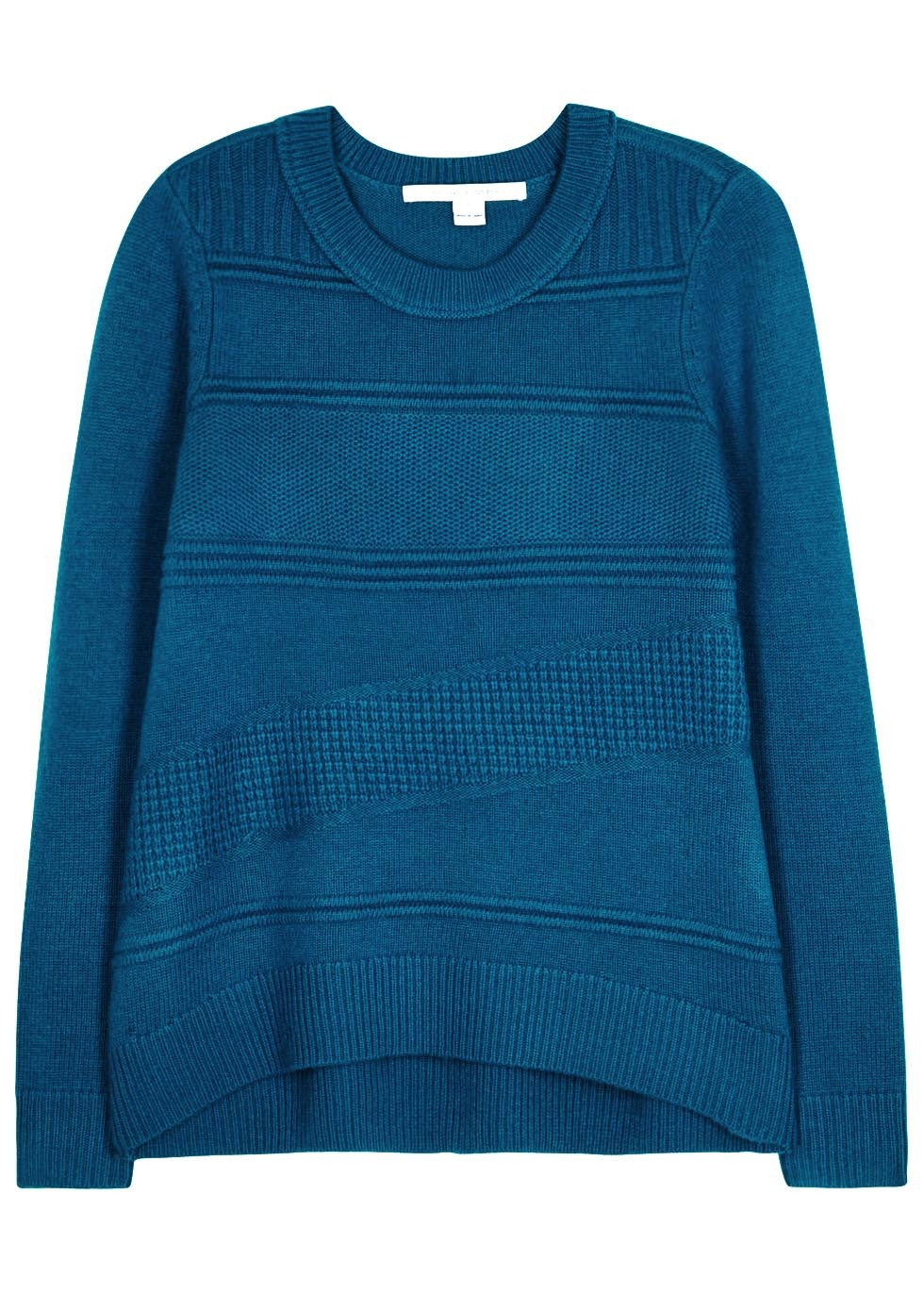 Kingston Peacock Blue Wool Blend Jumper - style: standard; predominant colour: teal; occasions: casual, creative work; length: standard; fibres: wool - mix; fit: standard fit; neckline: crew; sleeve length: long sleeve; sleeve style: standard; texture group: knits/crochet; pattern type: knitted - other; pattern: patterned/print; season: a/w 2016; wardrobe: highlight