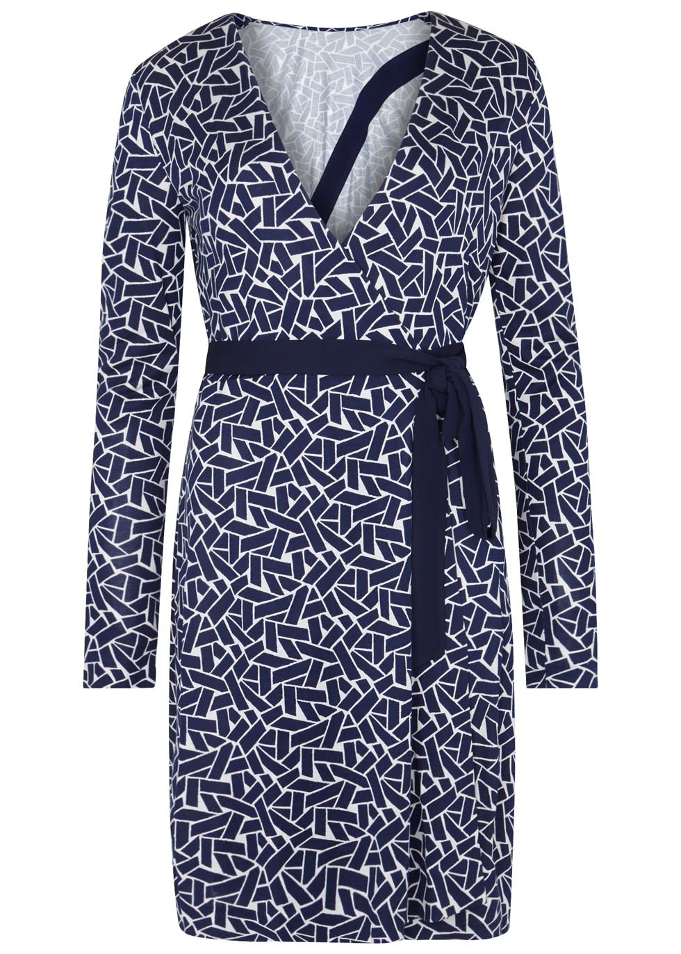 Vienna Printed Silk Jersey Wrap Dress - style: faux wrap/wrap; neckline: v-neck; waist detail: belted waist/tie at waist/drawstring; secondary colour: white; predominant colour: navy; occasions: evening; length: just above the knee; fit: body skimming; fibres: silk - 100%; sleeve length: long sleeve; sleeve style: standard; pattern type: fabric; pattern: patterned/print; texture group: jersey - stretchy/drapey; multicoloured: multicoloured; season: a/w 2016; wardrobe: event