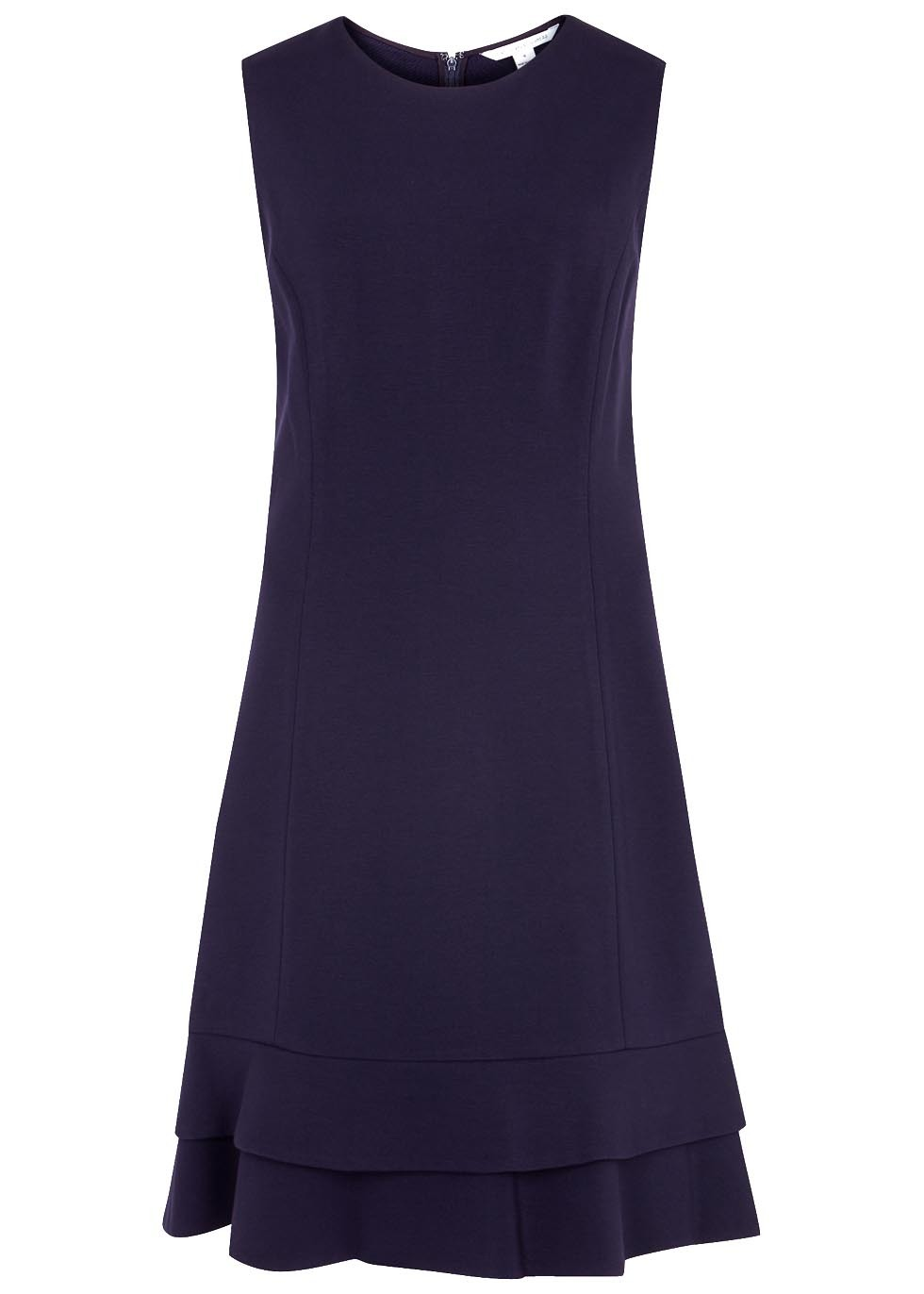 Jacey Navy Jersey Dress - length: mid thigh; pattern: plain; sleeve style: sleeveless; predominant colour: navy; occasions: evening, occasion; fit: fitted at waist & bust; style: fit & flare; fibres: polyester/polyamide - 100%; neckline: crew; sleeve length: sleeveless; texture group: crepes; pattern type: fabric; season: a/w 2016; wardrobe: event