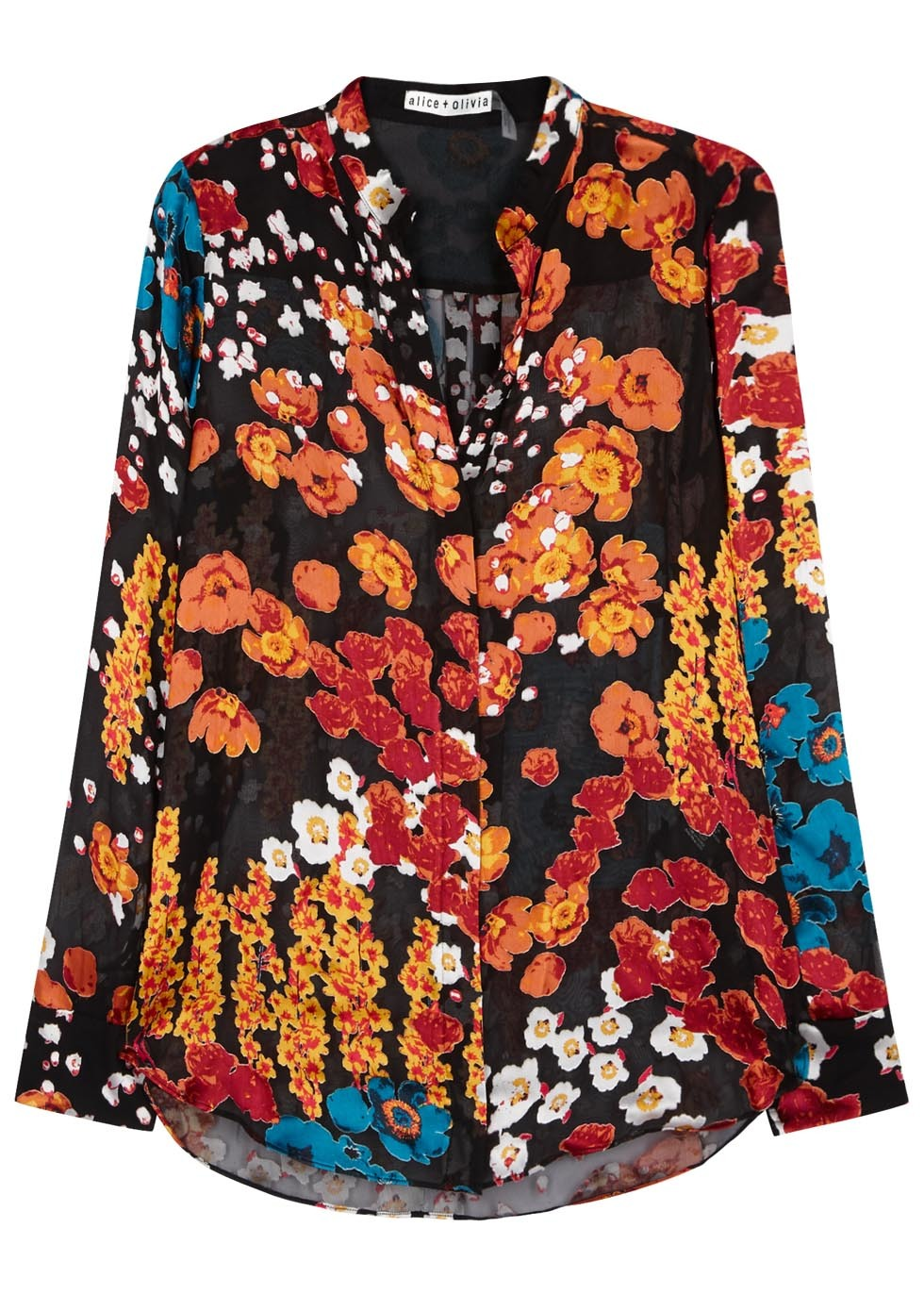 Belle Floral Devoré Blouse - neckline: shirt collar/peter pan/zip with opening; style: shirt; secondary colour: bright orange; predominant colour: black; occasions: evening; length: standard; fit: body skimming; sleeve length: long sleeve; sleeve style: standard; texture group: silky - light; pattern type: fabric; pattern: florals; fibres: viscose/rayon - mix; pattern size: big & busy (top); multicoloured: multicoloured; season: a/w 2016; wardrobe: event