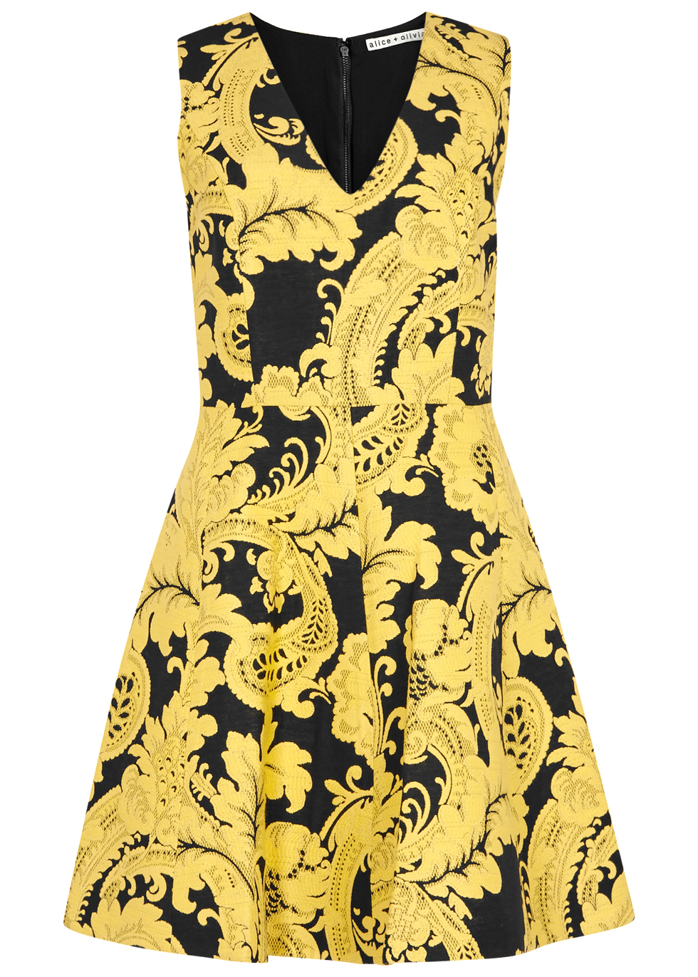 Nicolette Yellow Jacquard Mini Dress - neckline: v-neck; sleeve style: sleeveless; predominant colour: yellow; secondary colour: black; occasions: evening; length: just above the knee; fit: fitted at waist & bust; style: fit & flare; fibres: acrylic - mix; sleeve length: sleeveless; pattern type: fabric; pattern: patterned/print; texture group: brocade/jacquard; multicoloured: multicoloured; season: a/w 2016; wardrobe: event