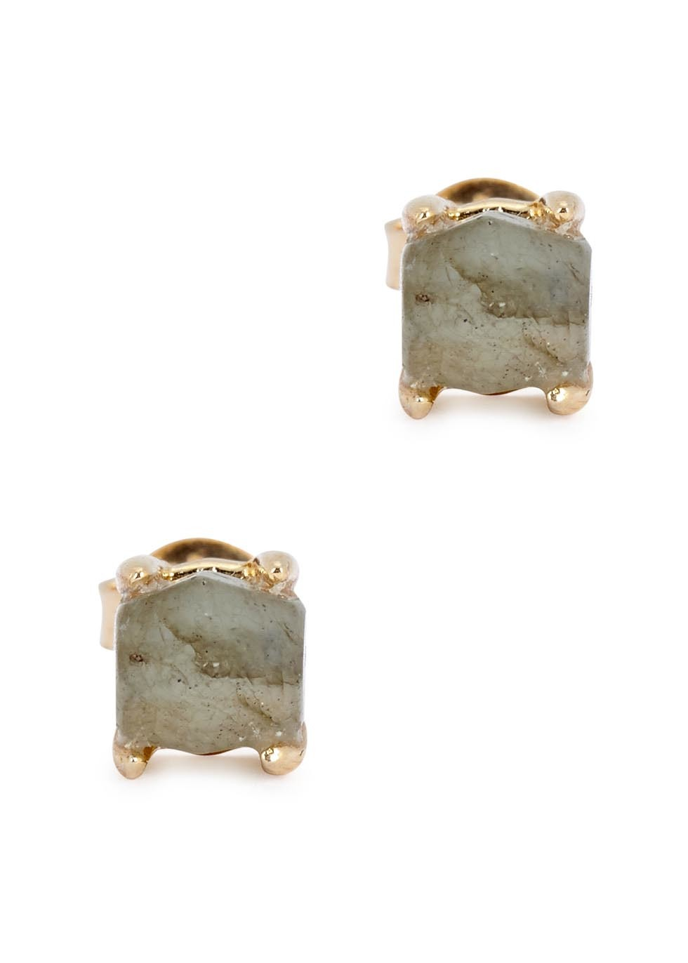 Perla Labradorite Gold Tone Earrings - secondary colour: ivory/cream; predominant colour: gold; occasions: evening; style: stud; length: short; size: small/fine; fastening: pierced; finish: metallic; material: animal skin; embellishment: jewels/stone; season: a/w 2016; wardrobe: event