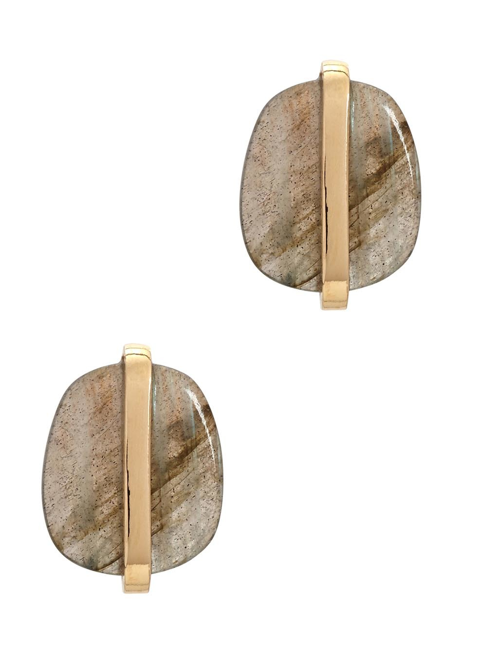 Bassa Labradorite Gold Tone Stud Earrings - secondary colour: gold; predominant colour: mid grey; occasions: evening; style: stud; length: short; size: small/fine; fastening: pierced; finish: metallic; material: animal skin; embellishment: jewels/stone; season: a/w 2016; wardrobe: event