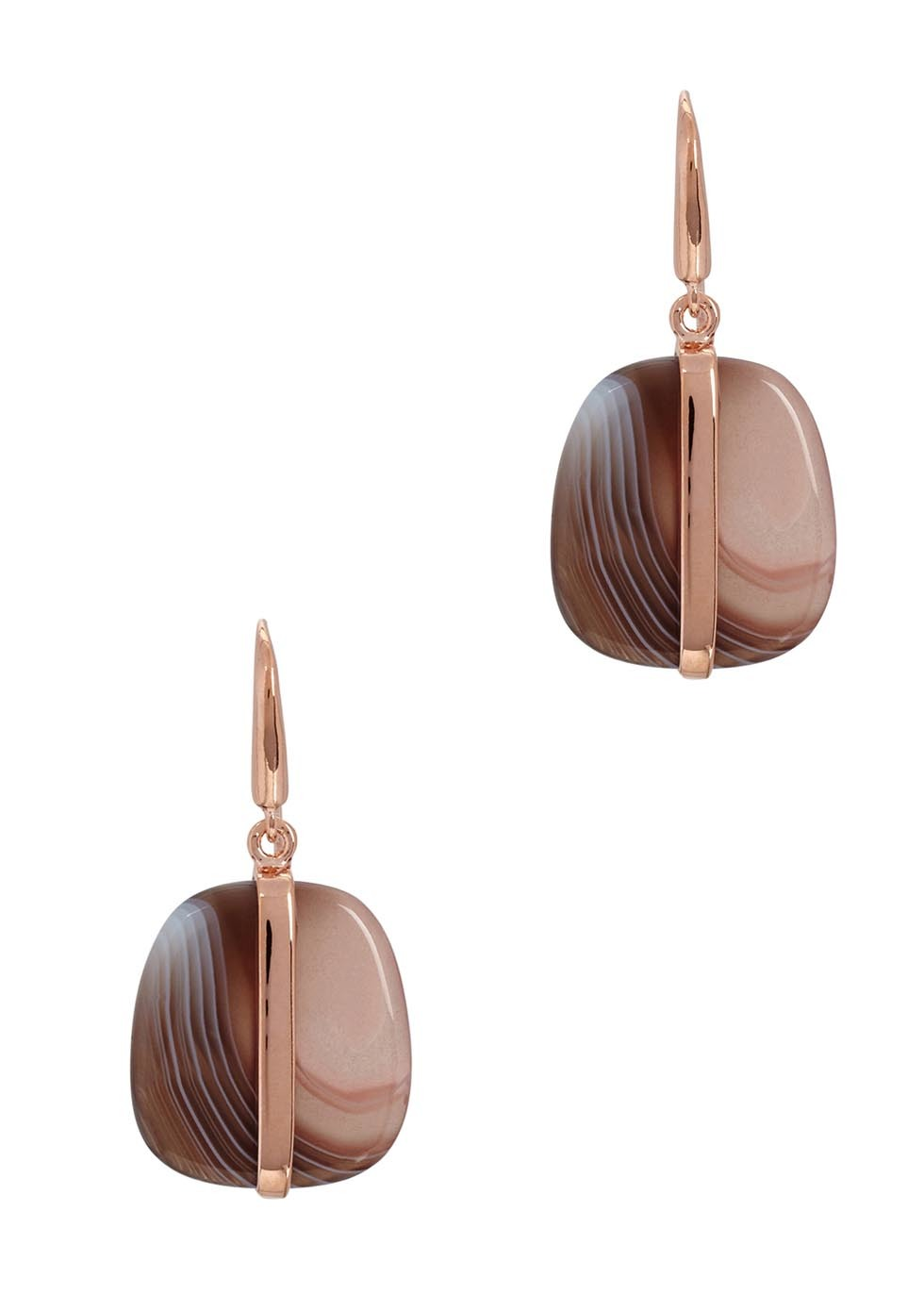 Bassa Botswana Agate Earrings - predominant colour: chocolate brown; secondary colour: gold; occasions: evening; style: drop; length: short; size: standard; material: chain/metal; fastening: pierced; finish: metallic; embellishment: jewels/stone; season: a/w 2016; wardrobe: event