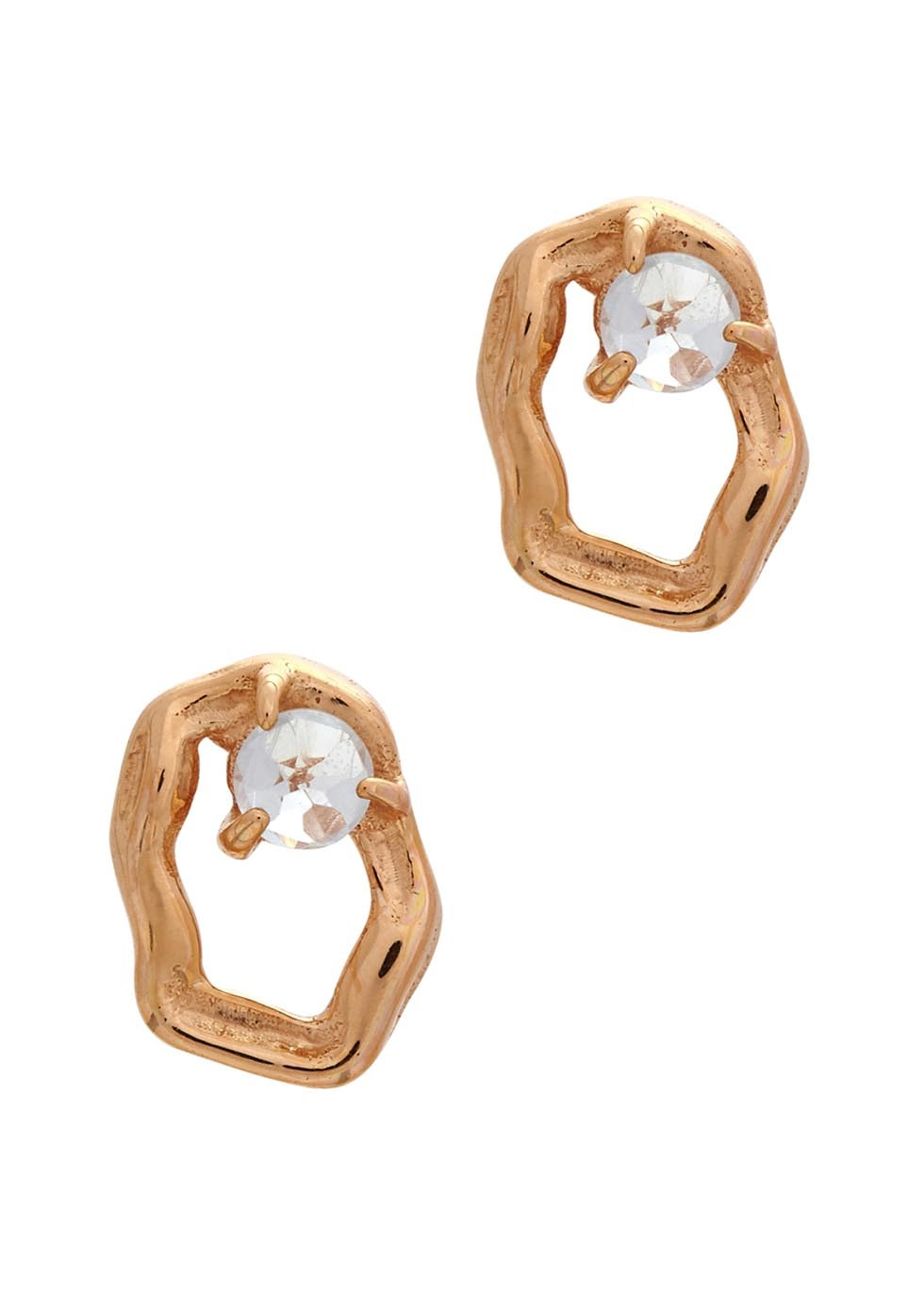 Lyra Topaz Rose Gold Tone Earrings - predominant colour: gold; occasions: evening, occasion; style: stud; length: short; size: small/fine; material: chain/metal; fastening: pierced; finish: metallic; embellishment: crystals/glass; season: a/w 2016; wardrobe: event