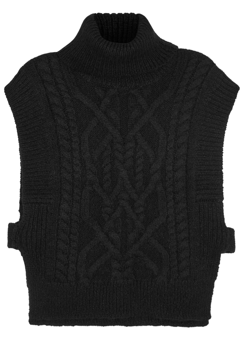 Grant Roll Neck Alpaca Blend Jumper Size - sleeve style: sleeveless; neckline: roll neck; style: standard; pattern: cable knit; predominant colour: black; occasions: casual, creative work; length: standard; fibres: wool - mix; fit: standard fit; sleeve length: sleeveless; texture group: knits/crochet; pattern type: knitted - other; pattern size: standard; season: a/w 2016; wardrobe: highlight