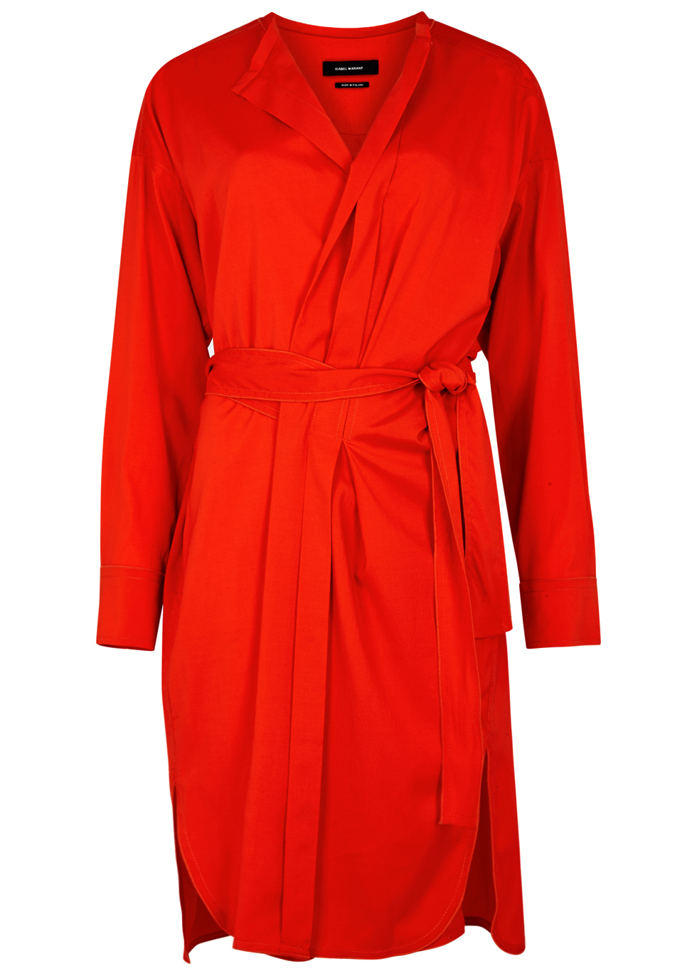 Dias Red Silk Blend Wrap Dress - style: faux wrap/wrap; neckline: v-neck; pattern: plain; waist detail: belted waist/tie at waist/drawstring; predominant colour: true red; occasions: evening; length: just above the knee; fit: body skimming; fibres: silk - mix; sleeve length: long sleeve; sleeve style: standard; texture group: silky - light; pattern type: fabric; season: a/w 2016; wardrobe: event